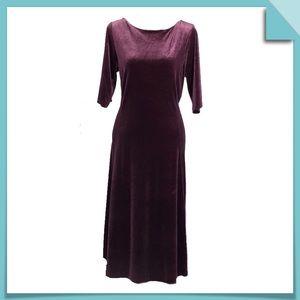 Land's End Velvet Jersey Midi Dress in Plum Size M